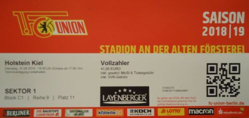 TICKET 2 Holstein Kiel BL 2018//19 FC Union Berlin