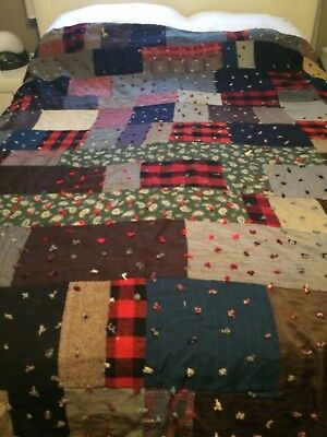 Antiques Vintage Handmade Tied Patchwork Quilt 64''x75""