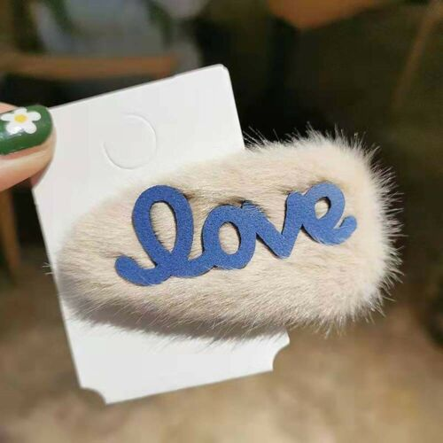 Chic Letter Love Colorful Soft Faux Fur Waterdrop Shape Sweet Hair Clip UK