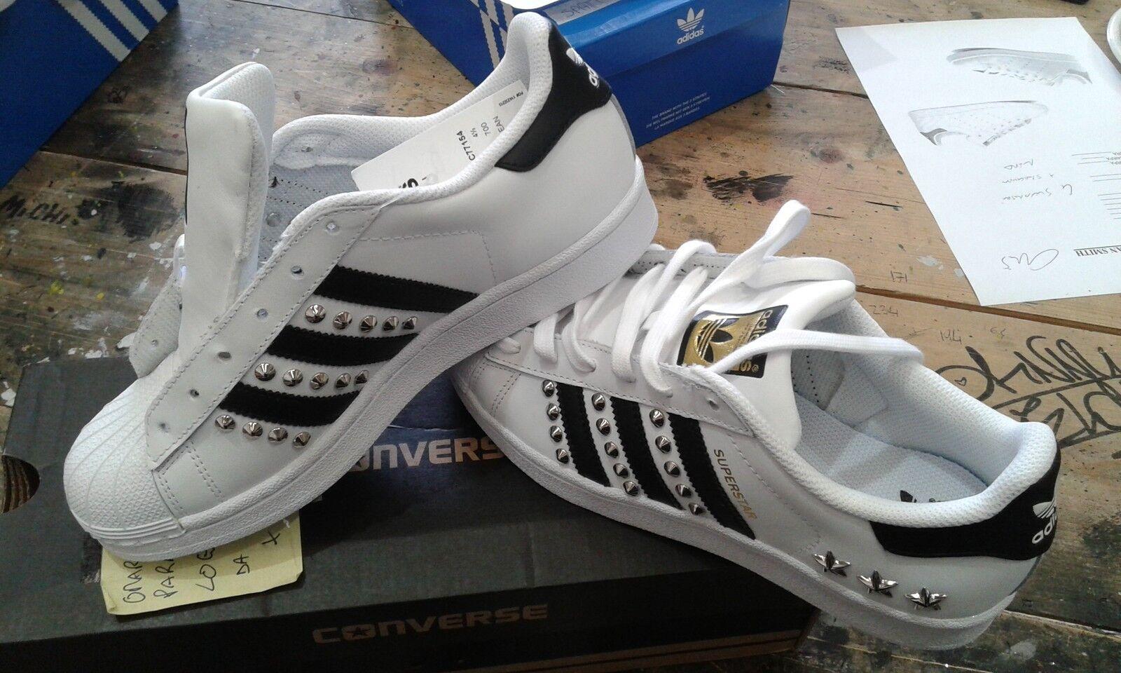 Scarpe adidas superstar con argento borchie argento e stelle argento con 15e4e8