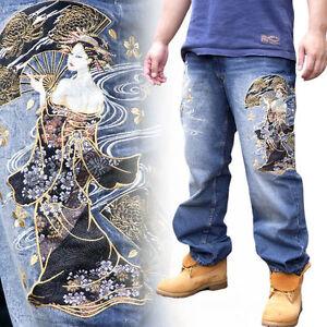 Nuevo Para Hombres Pantalones Vaqueros Bordado Recta Denim Japones Patron Belleza Geisha Ebay