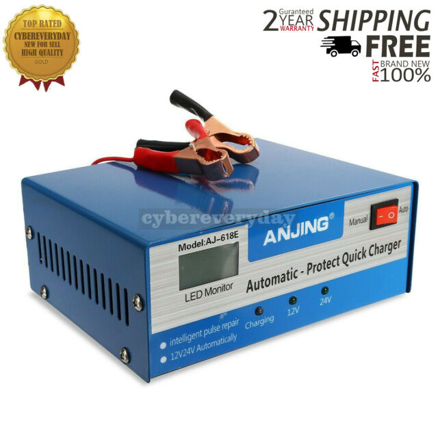 New 12V//24V 200AH Electric Car Auto Battery Charger Intelligent Pulse Repair