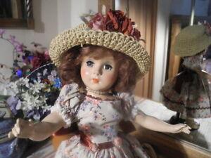 VTG-Nancy-Ann-Doll-Redressed-Hat-amp-Purse-ORIG-MOHAIR-Wig-Shoes-Restrung-17-5-034