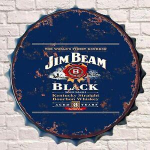 Jim Beam Whiskey Vintage Retro Wall Sign Metal Bottle Top Bar Man Cave Garage