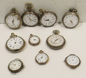 Konv-10-8-Silver-Pocket-Watches-2Uhren-Remontoir-Cylindre-Watchmaker-Discount