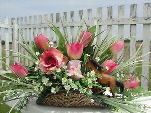 Specialty Party Birthday Horse Lovers Basket Silk Flower Arrangement