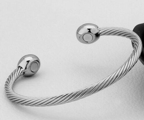 Bracelet magnétique anti stress aimant jonc argenté santé argent zen