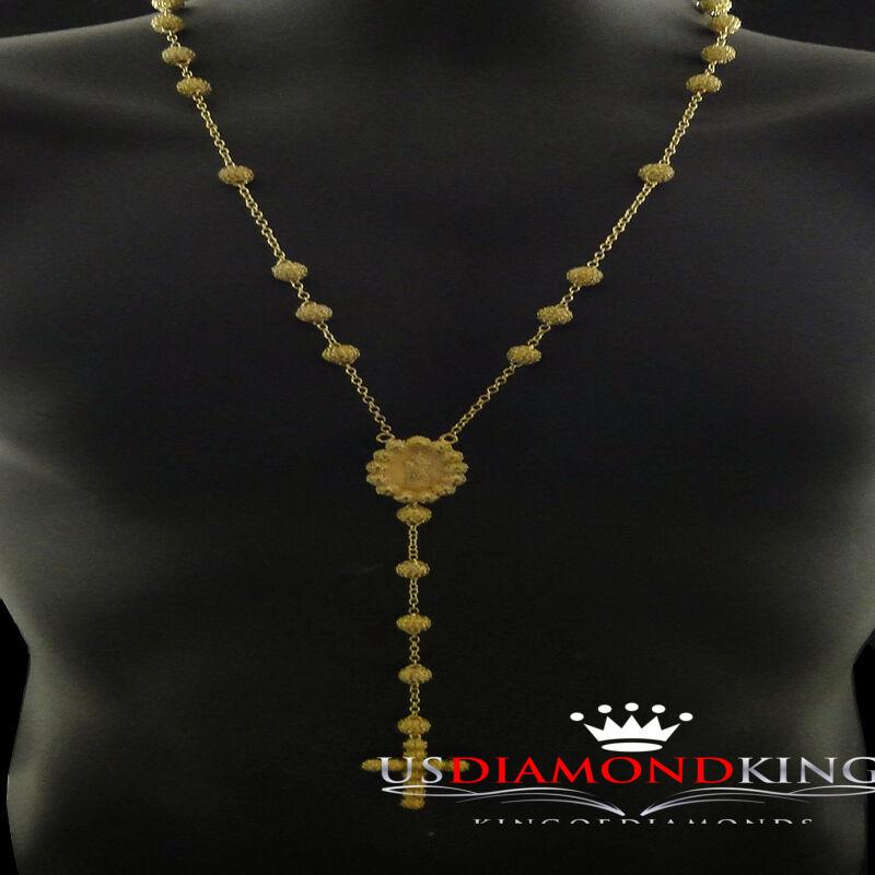 14k Finitura oro Giallo Canarino Canarino Canarino Sfere Astuccio Design rosario Collana Marry f0a476