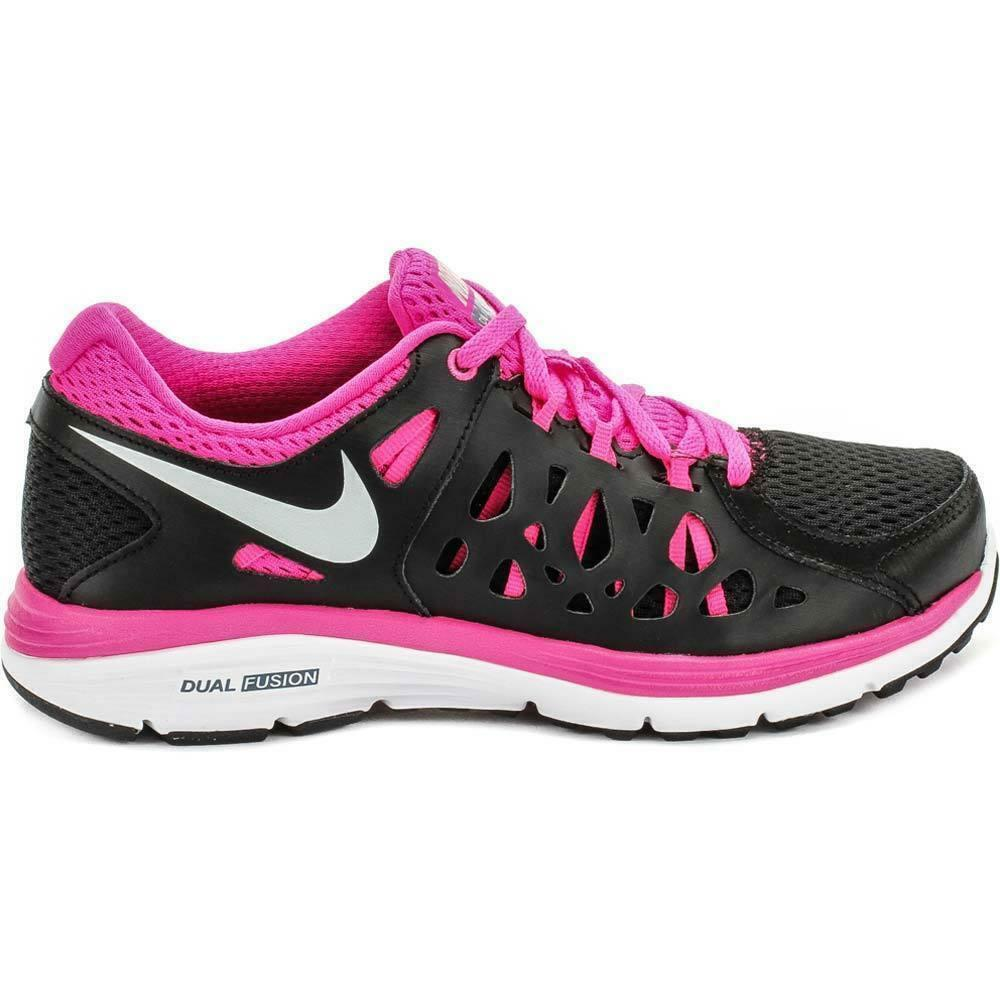 Womens NIKE DUAL FUSION RUN 2 Black Pink Running Trainers 599564 006