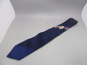 Leonard-Men-039-s-Tie-100-Silk-Made-In-Italy-Blue-59-034-Long-3-2-039-039-Width