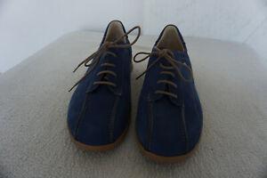 FINN-COMFORT-Damen-Schuhe-mit-Einlagen-Schnuerschue-Gr-39-Marine-Nubuk-Leder-NEU