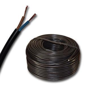 (0,47€/m) 50 m Schlauchleitung H03VV-F 2x0,75 mm² schwarz - Stromkabel - H03VVF