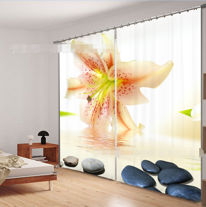 3D Fresh Lily64 Blockout Photo Curtain Printing Curtains Drapes Fabric Window UK