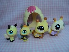 Discontinued LPS Littlest Pet Shop Lot of 4 Bees Family With Bee Hive Excellent