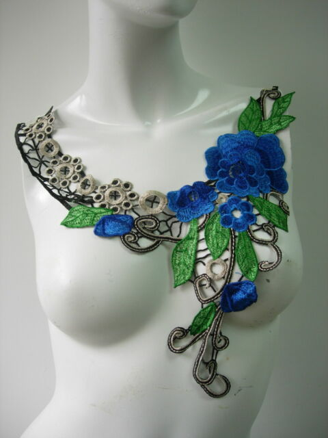 VK293-2 Royal Blue Tone Flourish Collar Neckline Lace Venise Applique