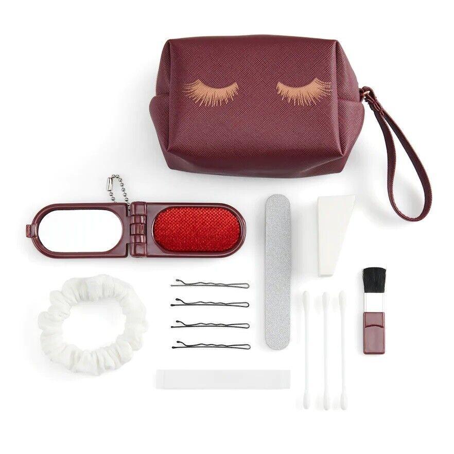 NWT LC Lauren Conrad Travel Bag Rescue Kit w Eye Mask - Red w Gold Eyelashes