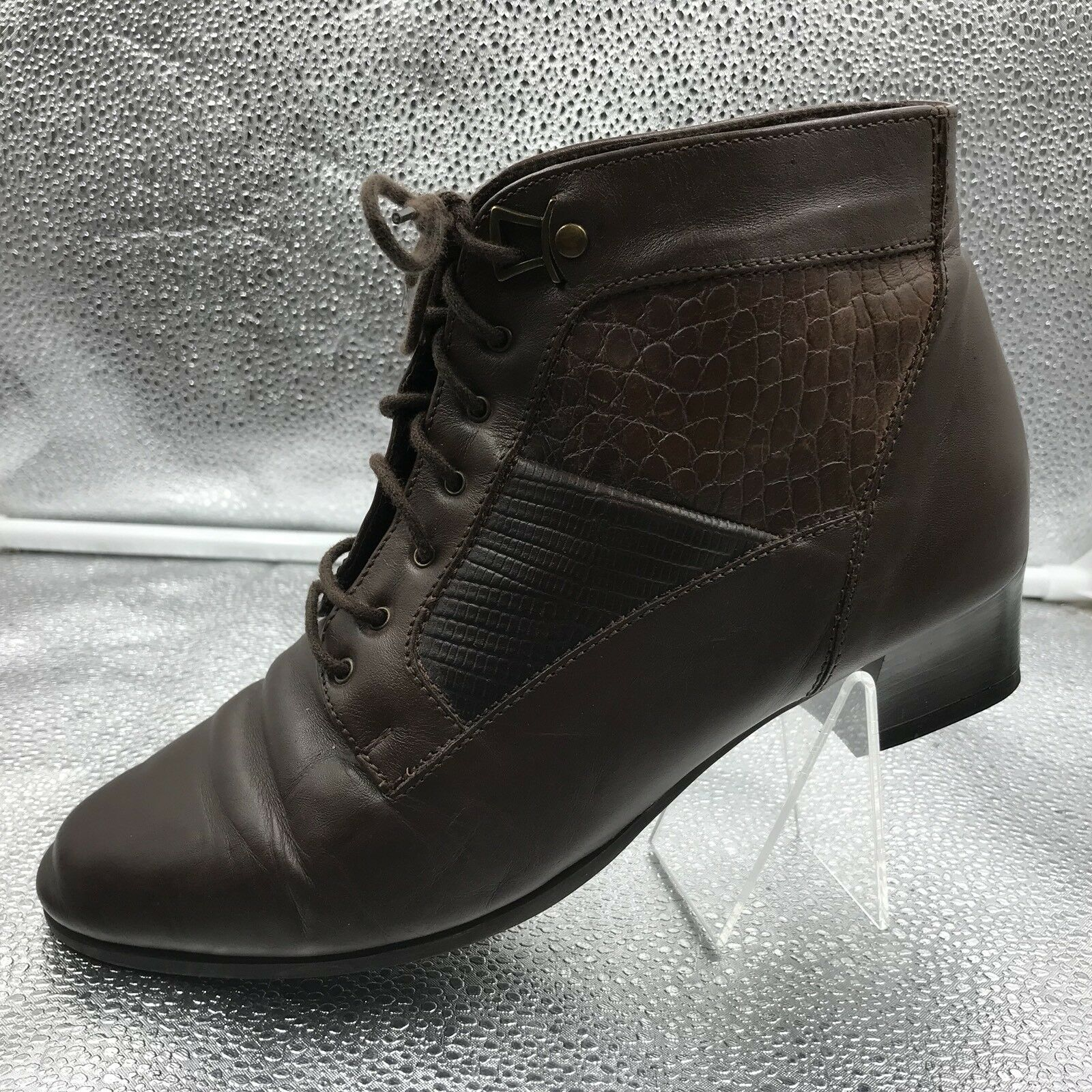 Clarks braun damen Leather Sz 5.5 38.5 Victoriana Lace Up Ankle Stiefel