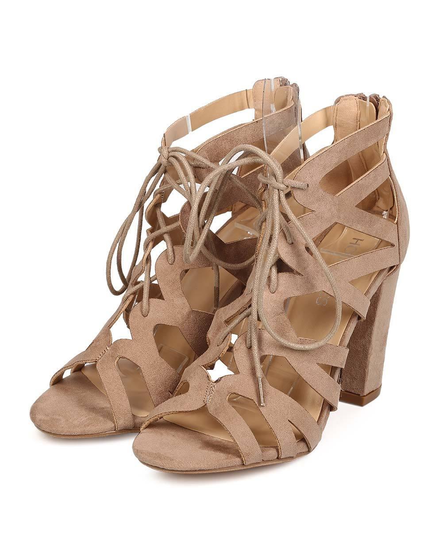 New Women Women Women HOTSOLES Cygnet Faux Suede Peep Toe Lace Up Cut Out Block Heel Sandal b2f9c0