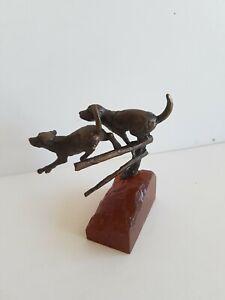 "Butler & Peach  Labrador  Dogs jumping over fence     Bronze Sculpture 3""×2"""
