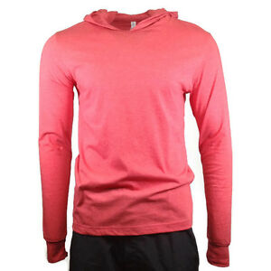 Men-039-s-Hooded-T-shirt-BELLA-CANVAS-Soft-Comfy-Hoodie-Heather-Red-3512-MEDIUM