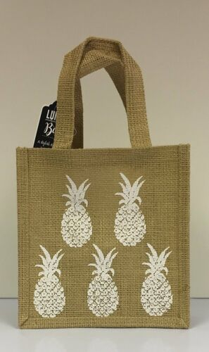 Pineapple Print Hessian Tote Lunch Bag