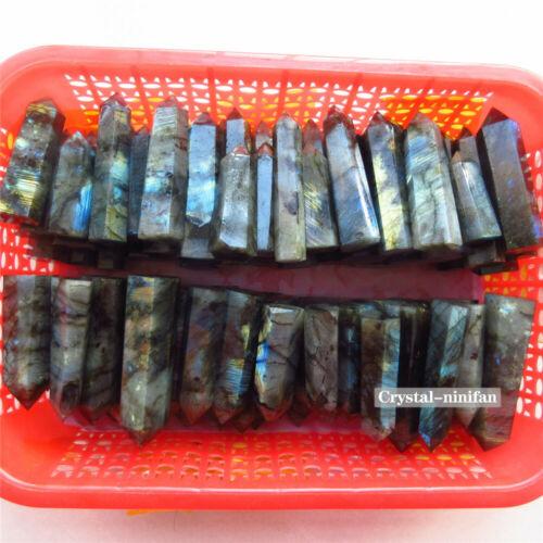 2lb 10-16PCS Natural Labradorite Quartz Crystal Wand Point Blue And Gold Flas