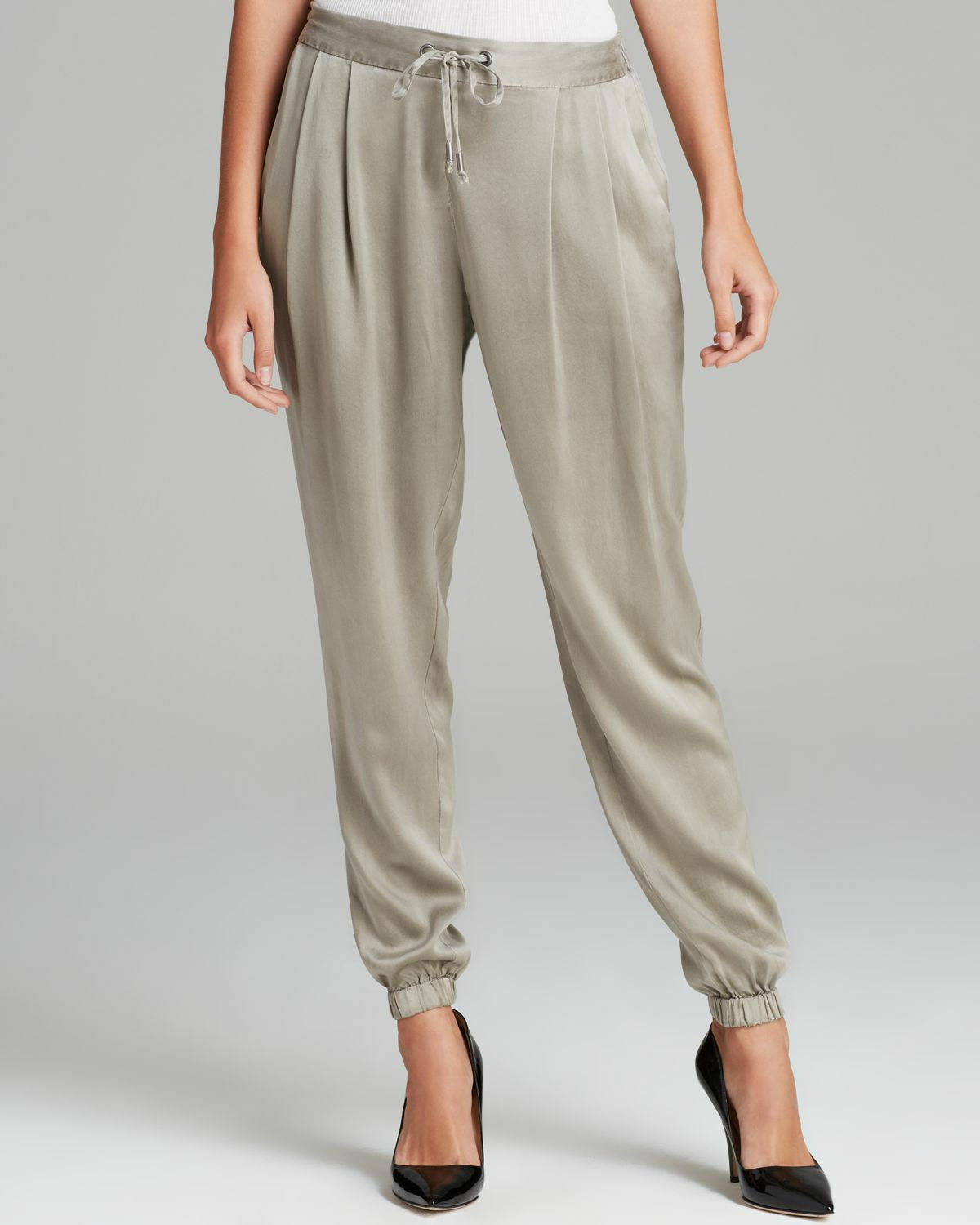 248 BNWT EILEEN FISHER Silk Charmeuse STONE Slouchy Ankle Pants  PS PM
