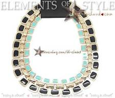 Forever 21 XXI Black + Turquoise Enamel Gold Tone Collar Bib Necklace N370