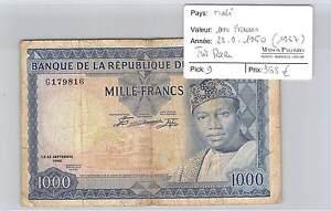 BILLET-MALI-1000-FRANCS-22-9-1960-1967-TRES-RARE