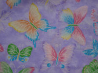 Pastel Butterflies On Purple W/glitter Fabric 1 Yd 100% C Sewing/quilting