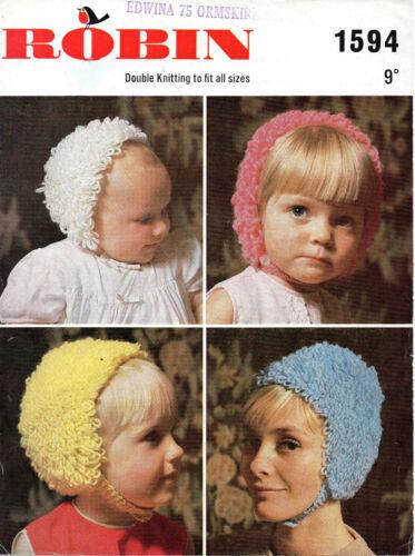 Robin 1594 Vintage Loopy Hat Knitting Pattern DK Newborn Adult 1970s Fun