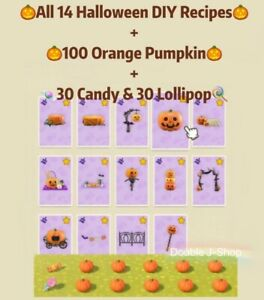 Animal-Crossing-All-14-Halloween-DIY-Recipes-100-Orange-Pumpkin-30Candy-amp-Lollipop