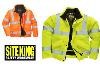 COATS WORK ROAD SAFETY VIS viz Mens Hi Visibility Padded Bomber Jackets By Site King Size S to 4XL
