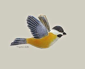 Bamboo-Jewelry-CHICKADEE-PIN-Broach-Cloisonne-Enamel-STERLING-Yellow-Bird-Box
