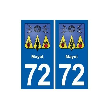 72 Mayet blason autocollant plaque stickers ville arrondis