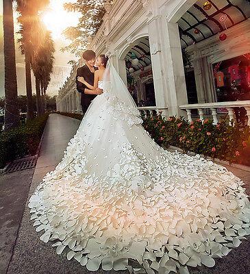 Jahrgang Luxus Brautkleid langer Hochzeitkleider Abendkleid Ballkleid Partykleid