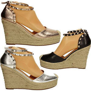 Womens Raffia Wedge Faux Leather Stud Ankl Heel Peep Toe Sandal Ladies Rose Gold