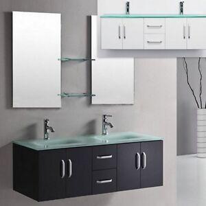 Mobile da arredo per bagno 150 cm nero con lavabo in cristallo doppio specchio ebay - Arredo bagno doppio lavabo ...