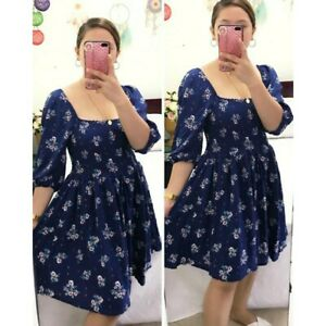 Fabchic-Casual-Formal-Korean-Blue-Floral-Dress-FREE-SHIPPING-S-to-XL