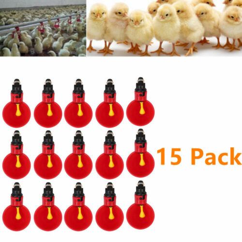 15 PCS Poultry Water Drinking Cups for Chicken Quail Automatic Plastic Drinker