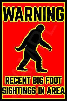 BIGFOOT SASQUATCH SIGN 8x12 ALL WEATHER METAL USA FUNNY MAN CAVE BAR HUNTING