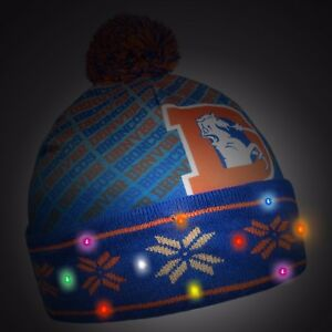 68857a81 Denver Broncos Light Up Printed Beanie Winter Hat Toque Cuffed Pom ...