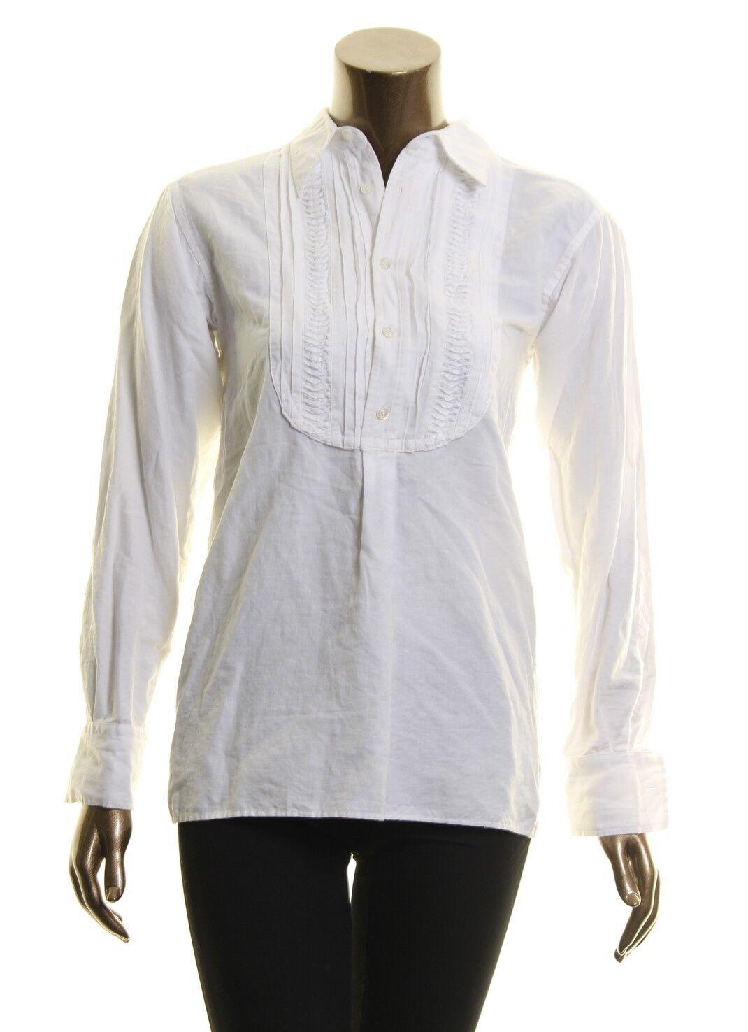 POLO RALPH LAUREN NEW Weiß Woherren Half Buttoned Pintucked Blouse Shirt Top XS