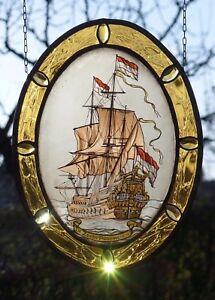 Bleiverglasung-Fensterbild-alte-Glasmalerei-034-Flaggschiff-De-Zeven-Provincien-034