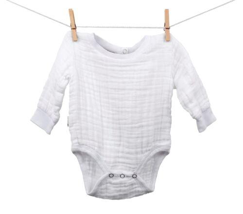 Muslin Cotton Baby Bodysuit 100/% Organic Cotton made in USA White