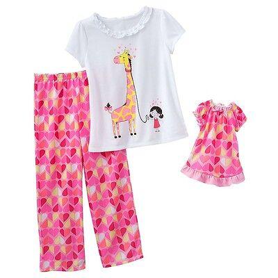 Girls 4-6X and Doll Matching Pink Giraffe Pajamas American Girl & Dollie & Me &