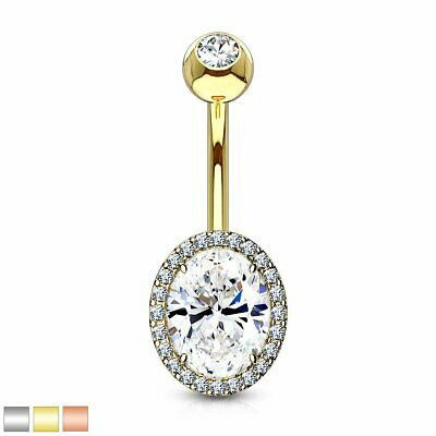 INTERNALLY THREADED DOUBLE SQUARE CZ BELLY BUTTON RING NAVEL PIERCING JEWELRY