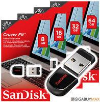 Sandisk Cruzer Fit 8gb 16gb 32g 64gb Usb 2.0 Flash Memory Pen Drive Stick Lot