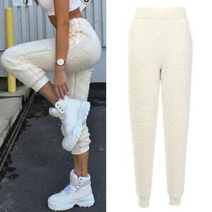 Senora-invierno-calido-suave-pantalon-cagado-Fleece-pantalones-pantalones-deportivos-pantalones-de