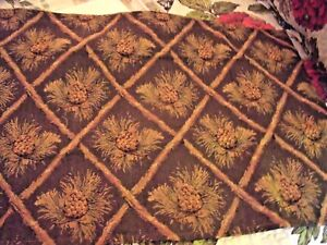 NEW-Bedford-Manor-PINECONE-VALANCE-CURTAIN-Lodge-Decor-52-034-X-16-034-Brown-Gold